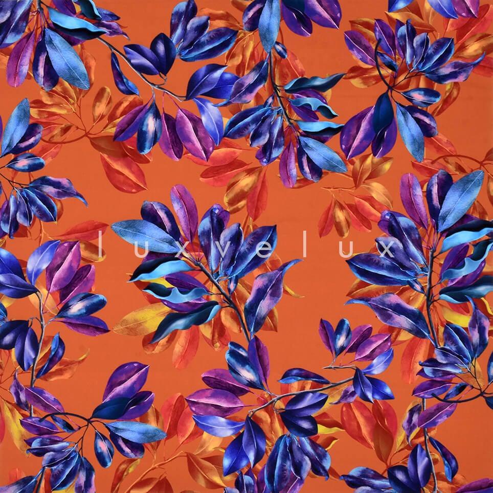 Colorful Leaves on Orange Background