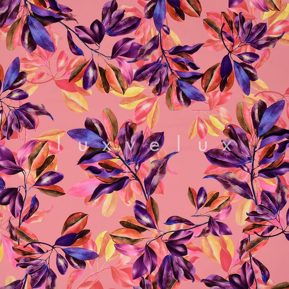 Colorful Leaves on Salmon Background