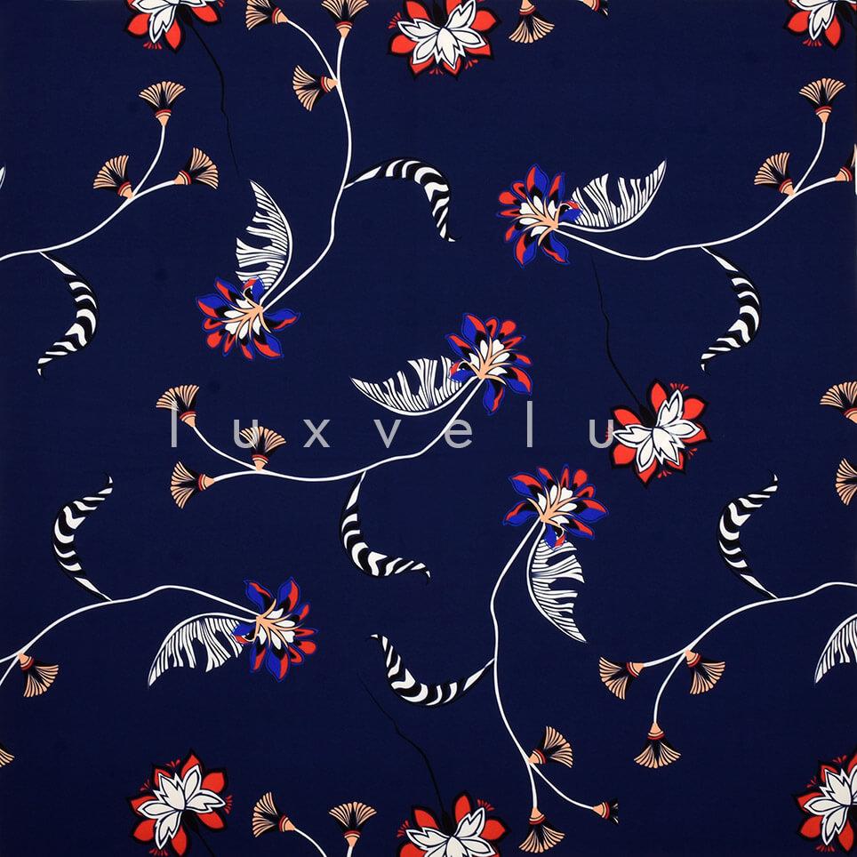 Dark Blue Ground Flying Flowers