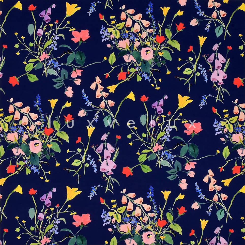 Dark Blue Ground Sparse Flowers