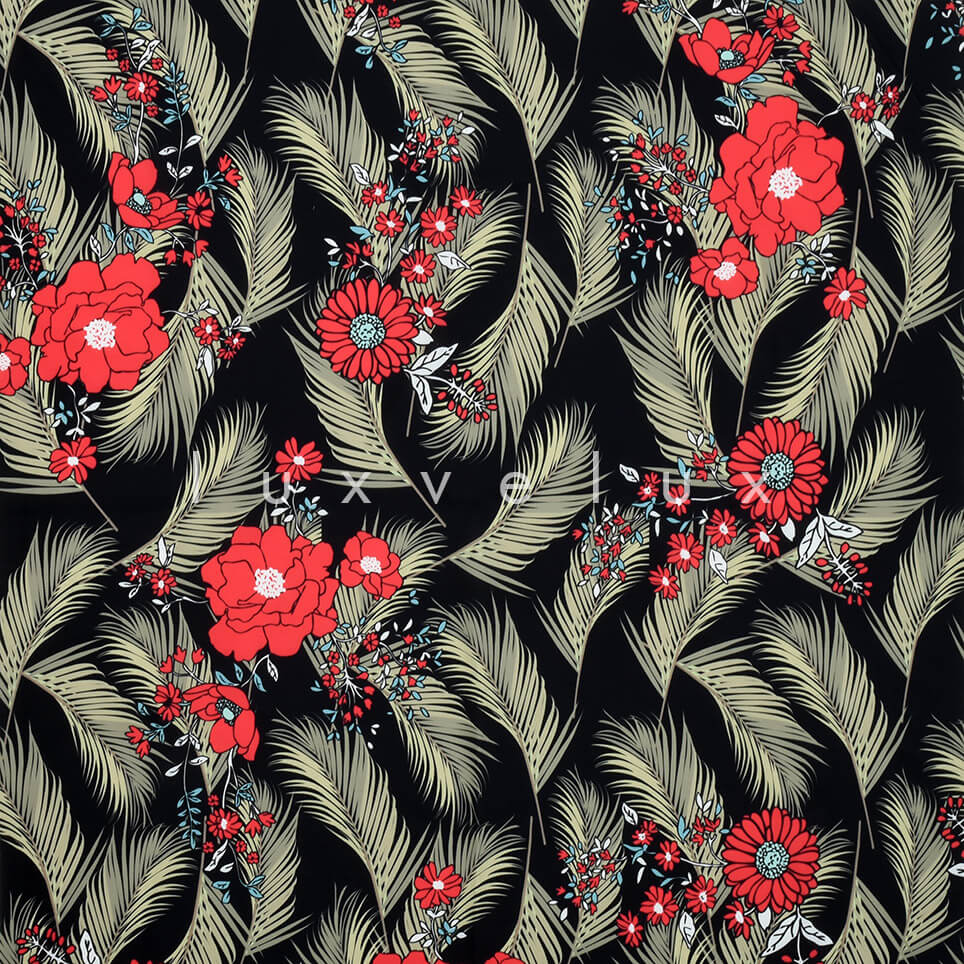 Feather Daisy Rose Ground Black