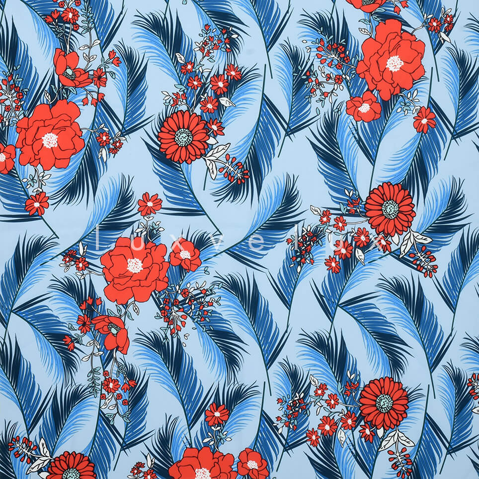 Feather Daisy Rose Ground Blue
