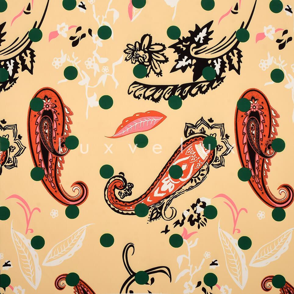 Paisley Pattern Points Salmon Green