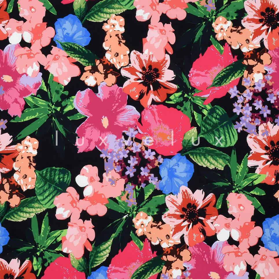 Pastel Color Flowers Backdrop Black