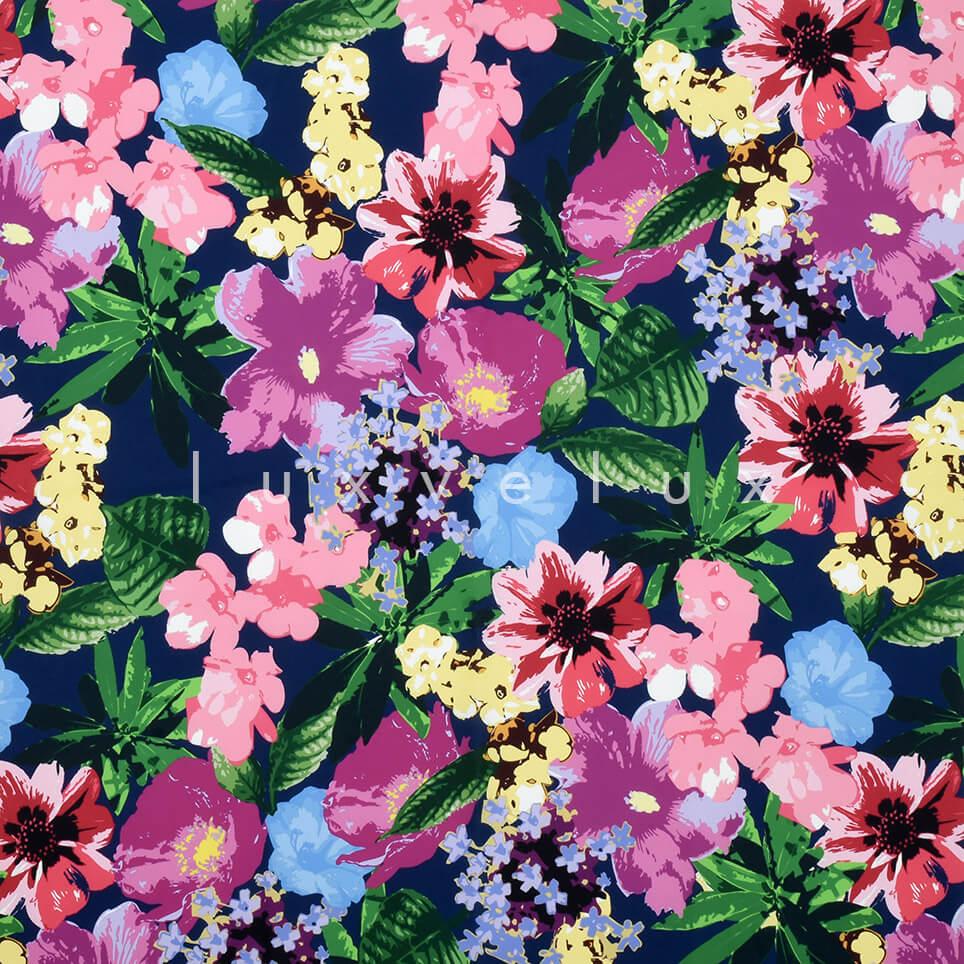 Pastel Color Flowers Backdrop Navy