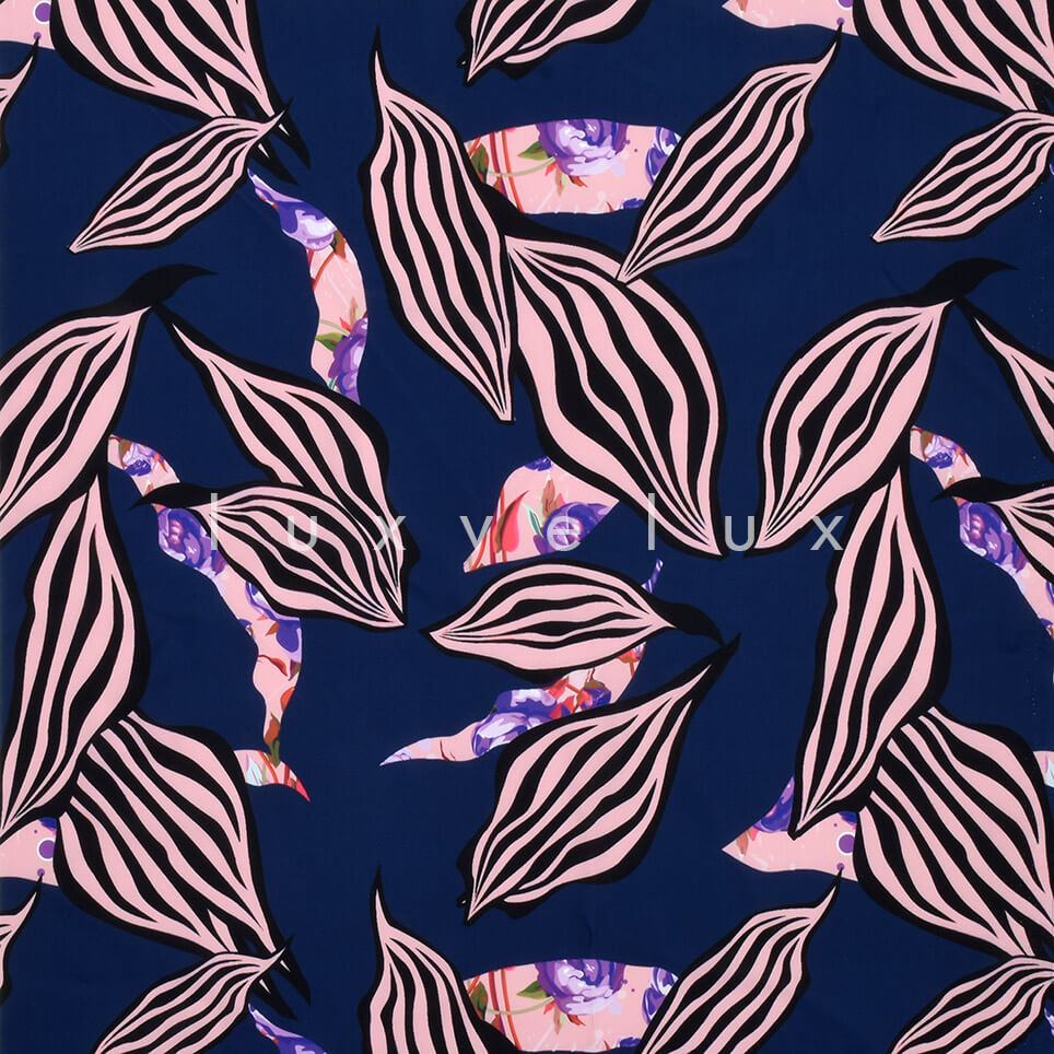 Patterned Leaves Ground Navy
