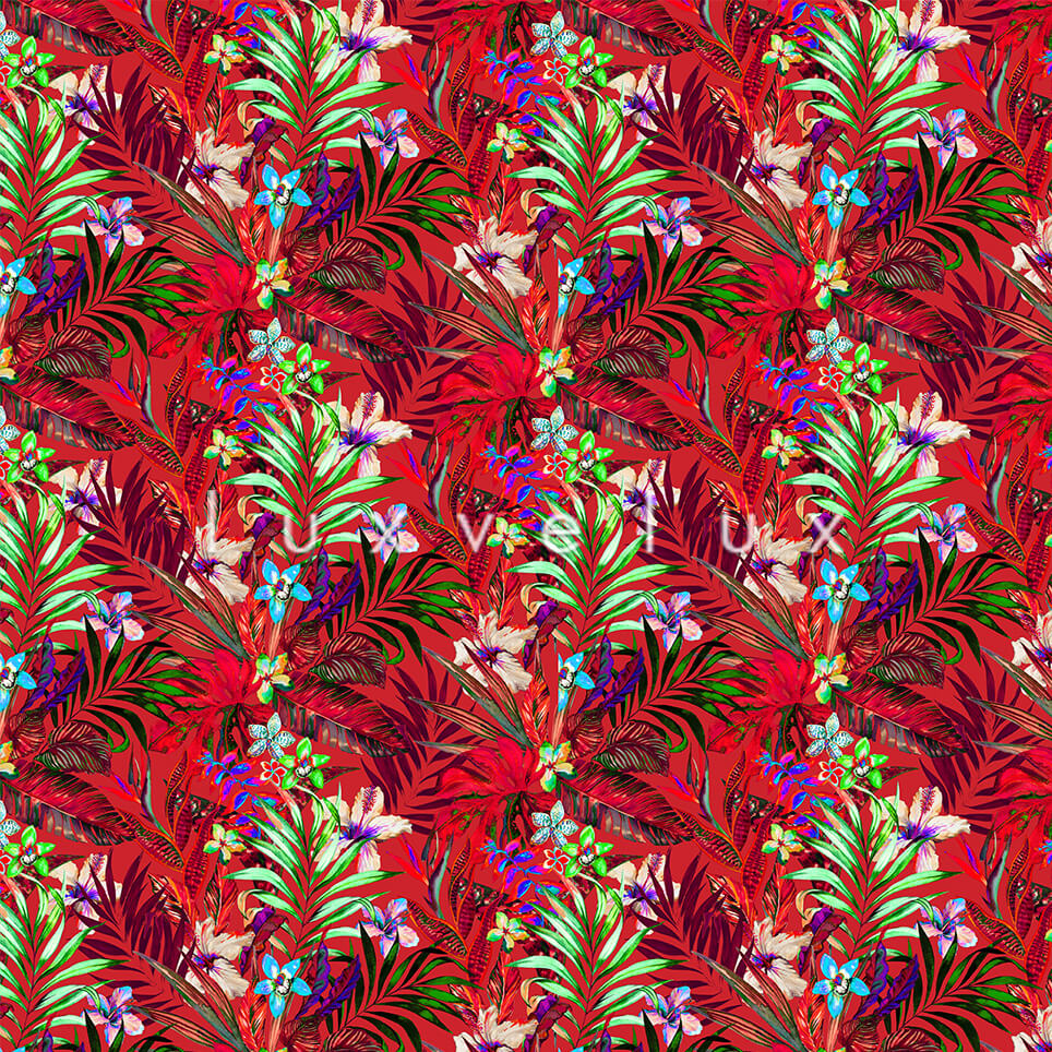 Authentic Flowers Green Leaf Ground Red Kira