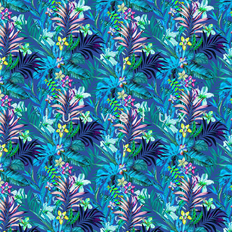Authentic Flowers Pink Leaf Ground Blue Kira