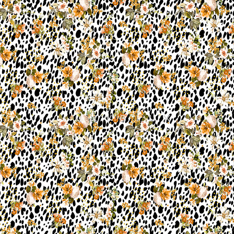Colorful Flowers Black Leopard Background Betty