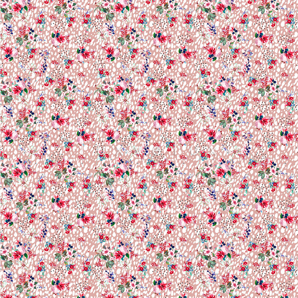 Colorful Flowers Black Leopard Background Pink Betty