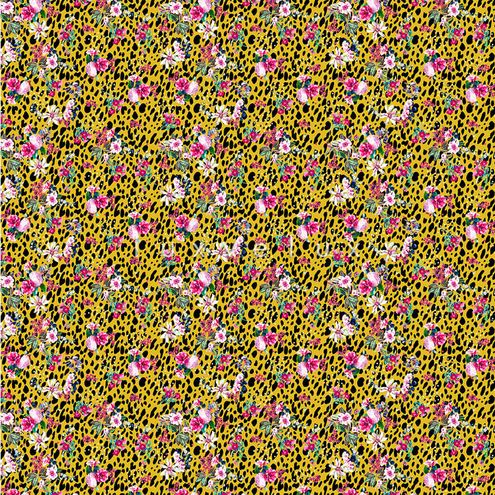 Colorful Flowers Black Leopard Background Yellow Betty