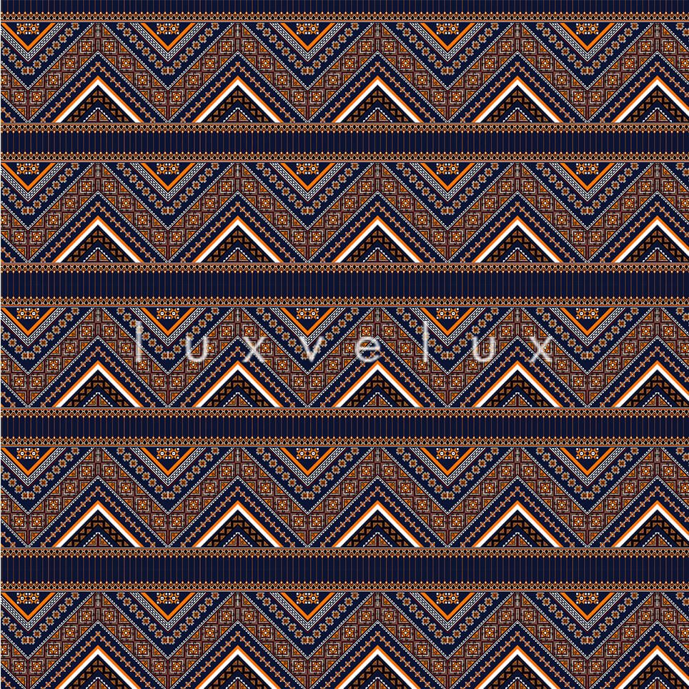 Ethnic Zigzag Pattern Anthracite Blue Felicia