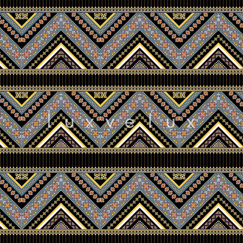 Ethnic Zigzag Pattern Black Blue Felicia