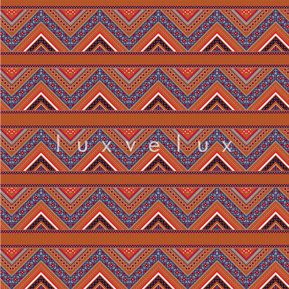 Ethnic Zigzag Pattern Brown Blue Felicia