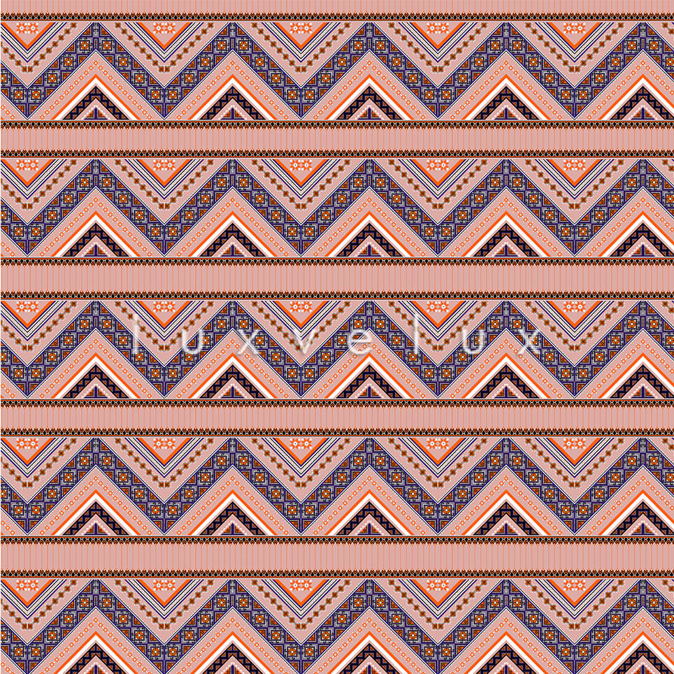 Ethnic Zigzag Pattern Salmon Blue Felicia