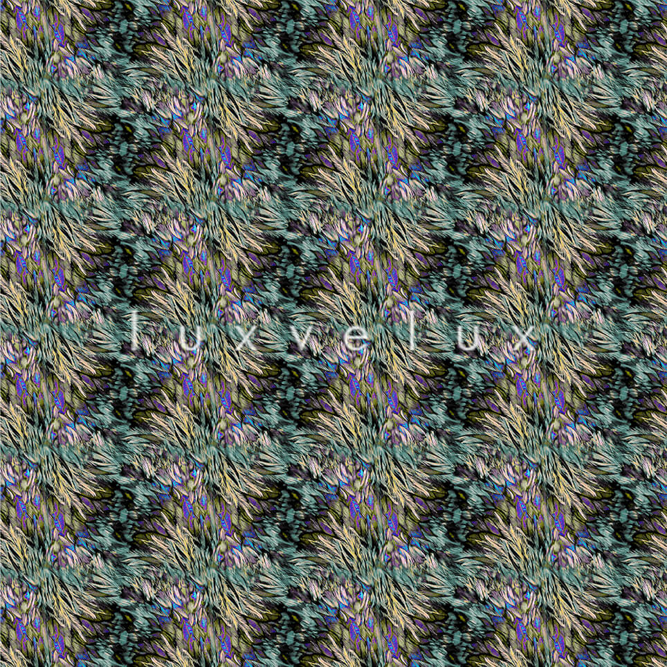 Feather Pattern Purple Green Kamila