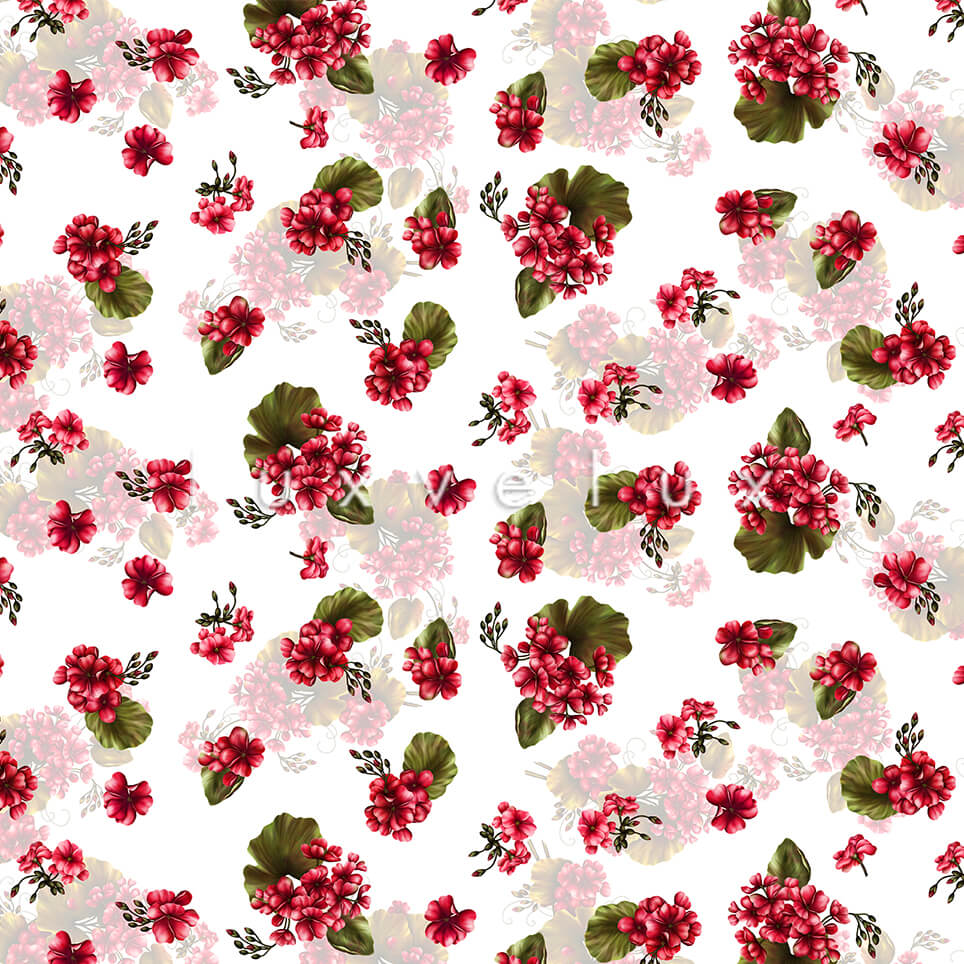 Floral Shaded Pattern Backdrop White Flower Red Laura
