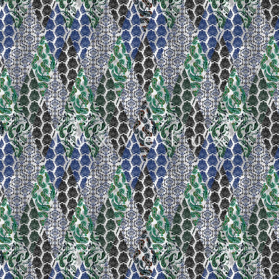 Geometry Shawl Pattern Blue Green Emma