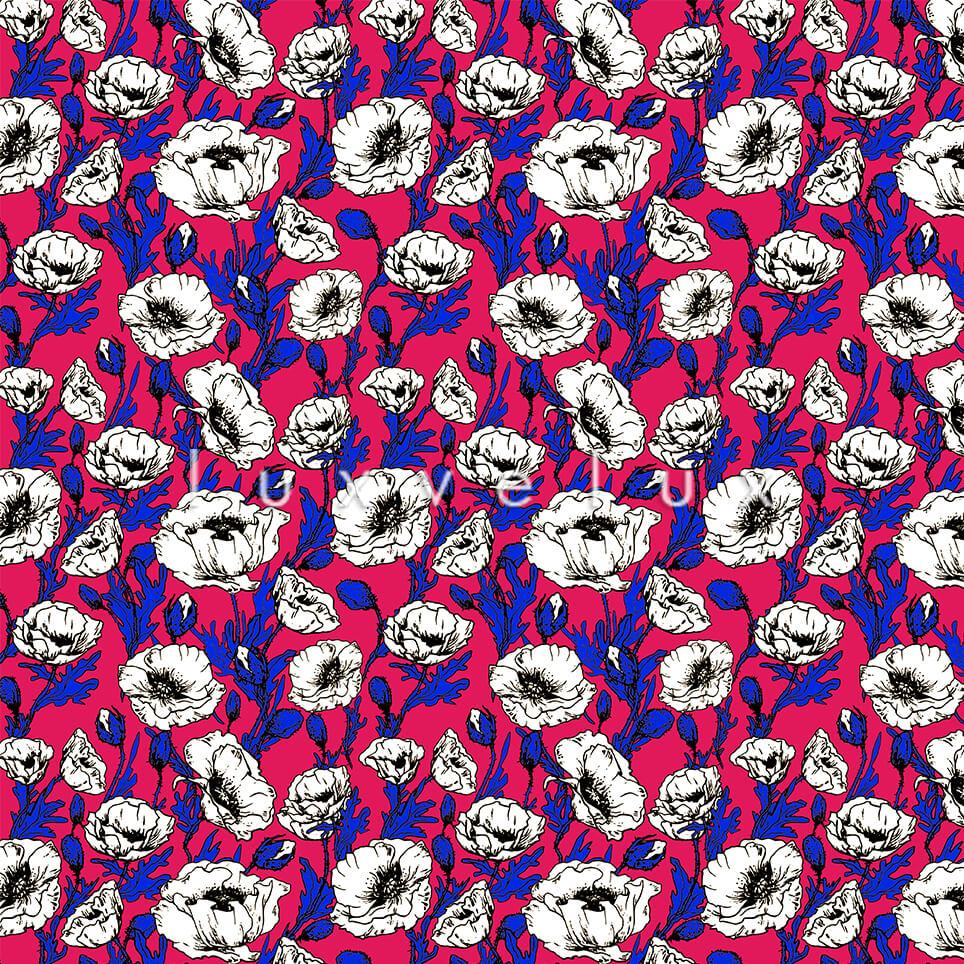 Hand Drawing Pattern Backdrop Fuchsia Larissa