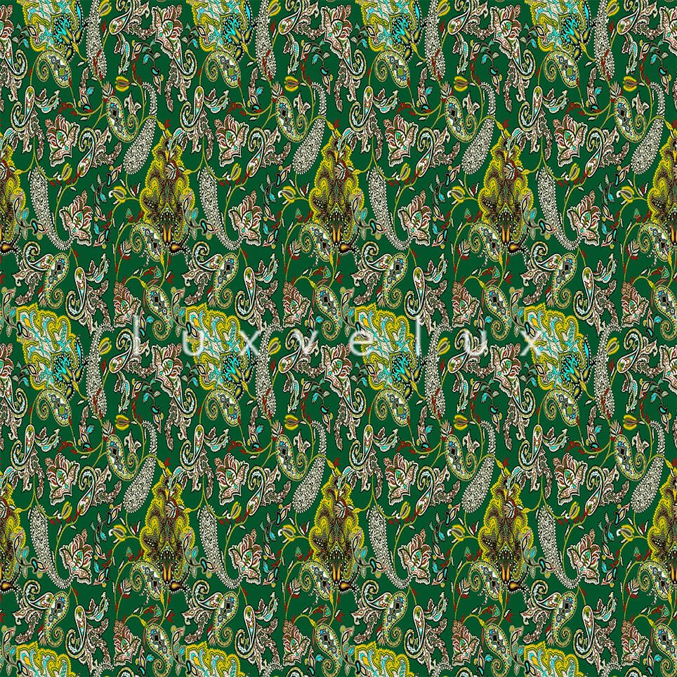 Intense Shawl Pattern Floor Green And Colorful