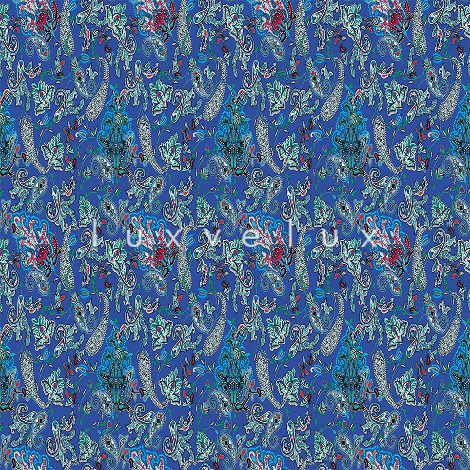 Intense Shawl Pattern Floor Light Blue And Colorful