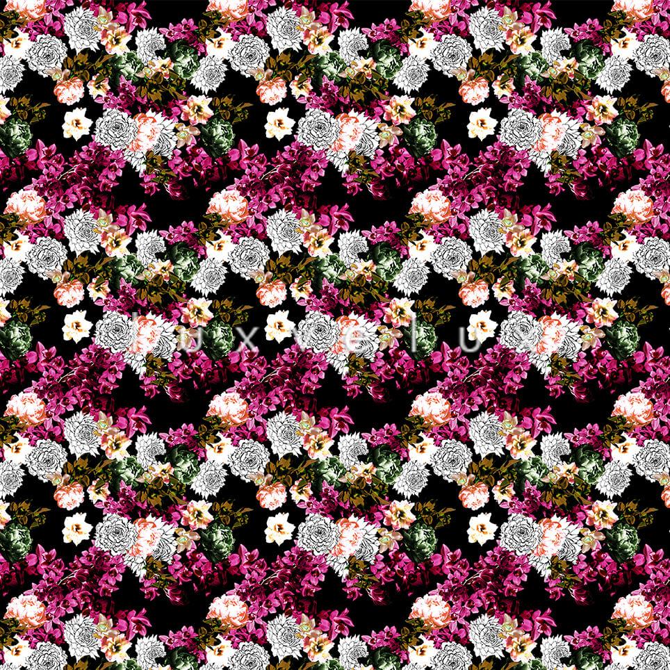Pattern Ground Black Flowers Fuchsia Lesley