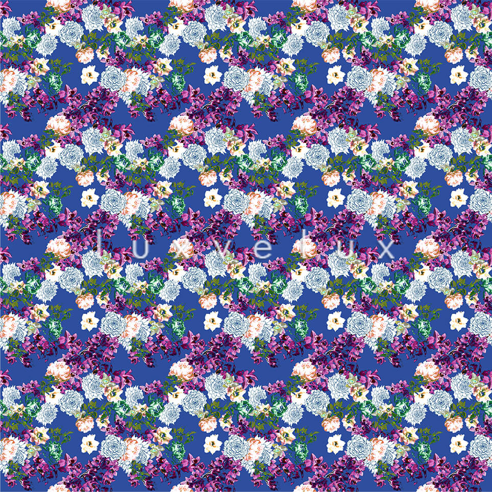 Pattern Ground Blue Flowers Fuchsia Lesley
