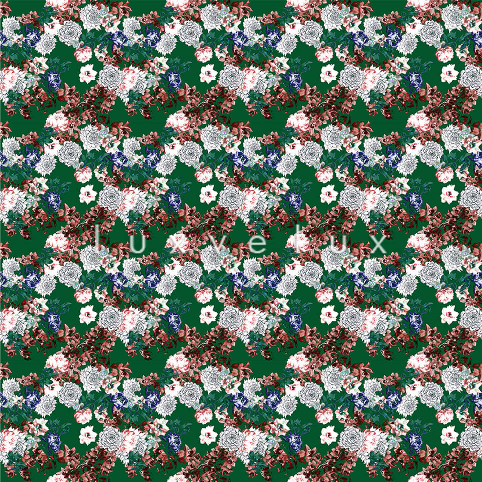 Pattern Ground Green Flowers Salmon Lesley