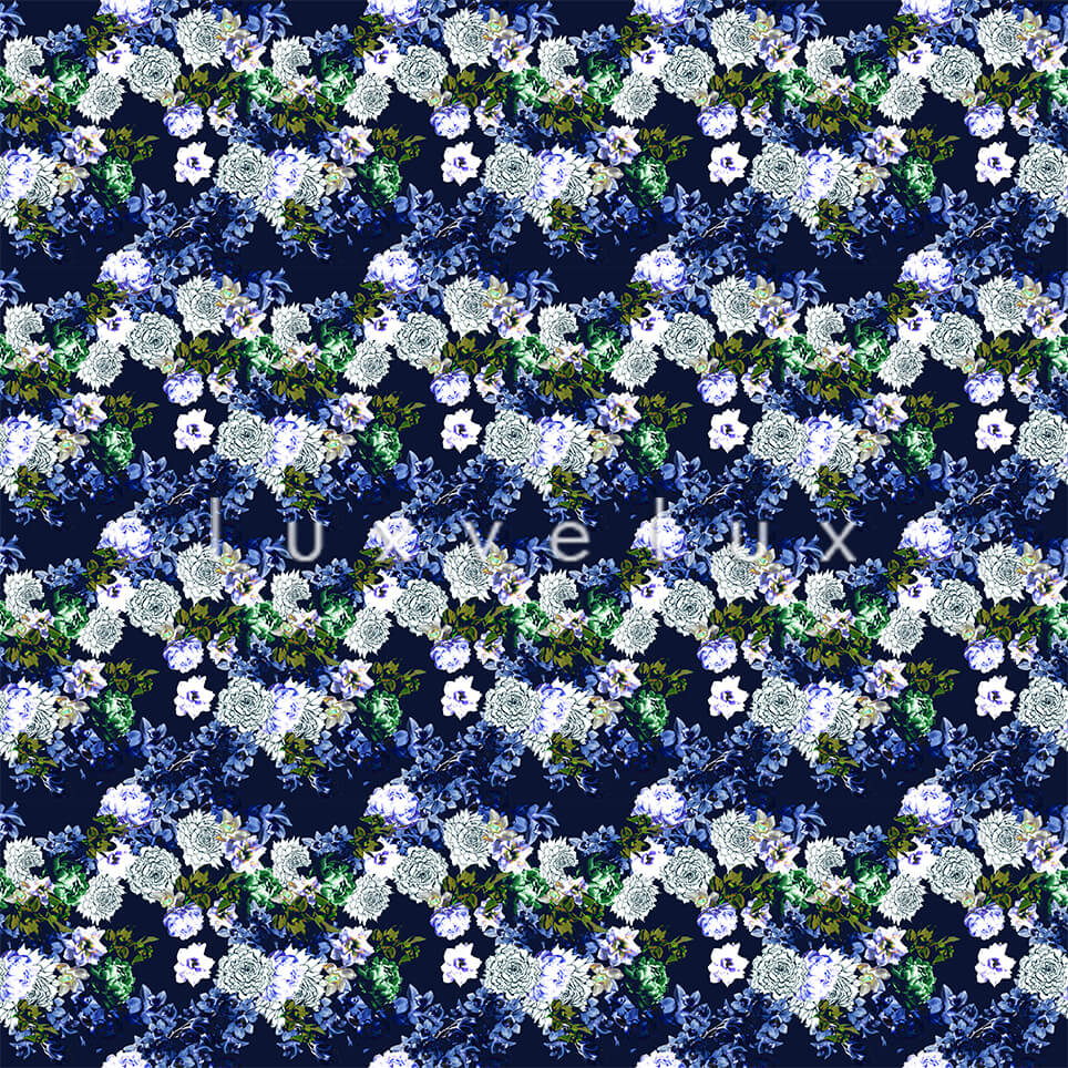 Pattern Ground Navy Flowers Blue Lesley