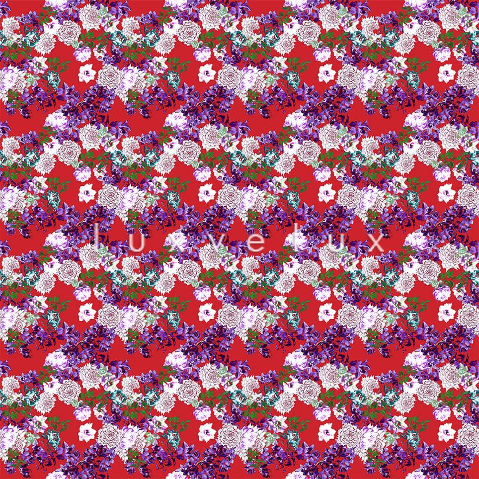Pattern Ground Red Flowers Purple Lesley