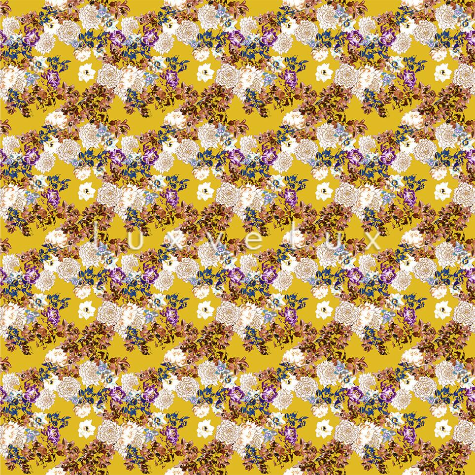 Pattern Ground Yellow Flowers Ecru Lesley