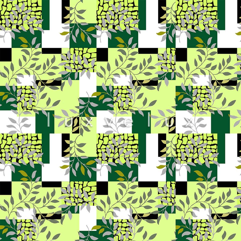 Plaid Leaves Green Yellow White Olivia