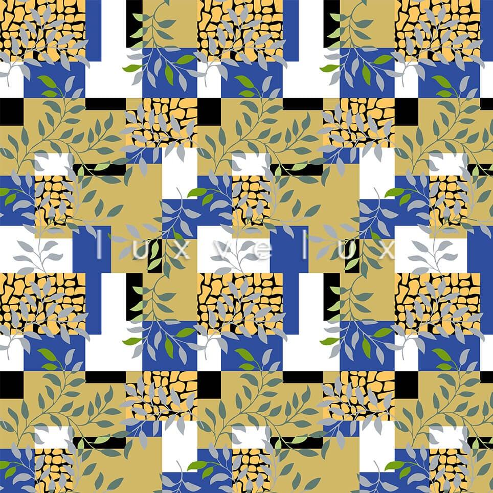 Plaid Leaves Light Blue Light Brown Olivia