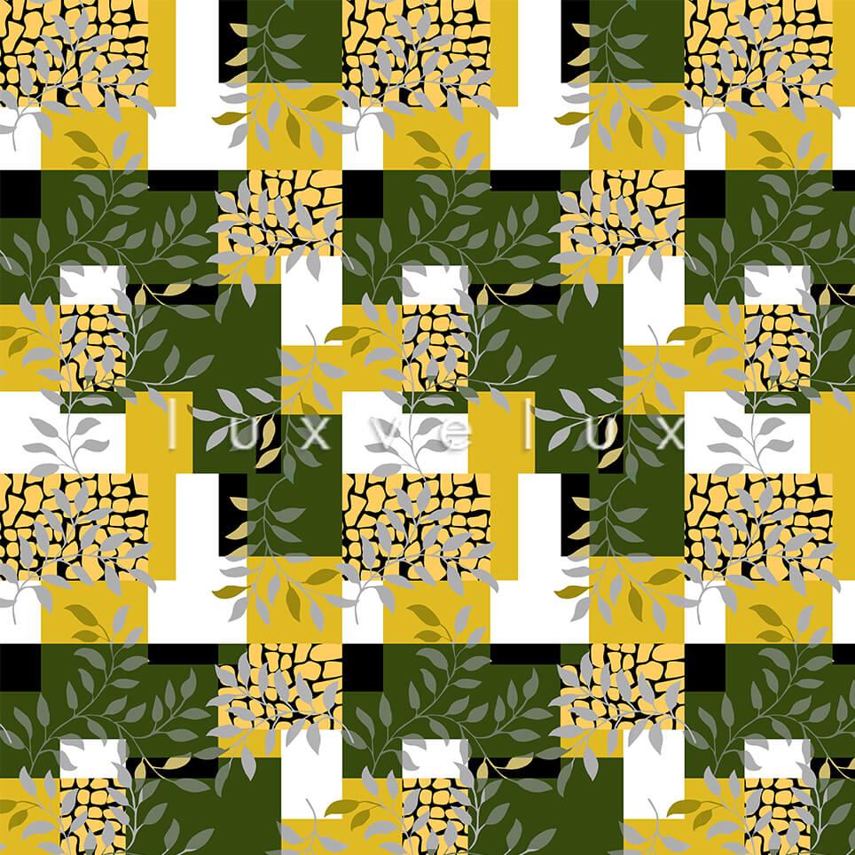 Plaid Leaves Yellow Dark Green Olivia