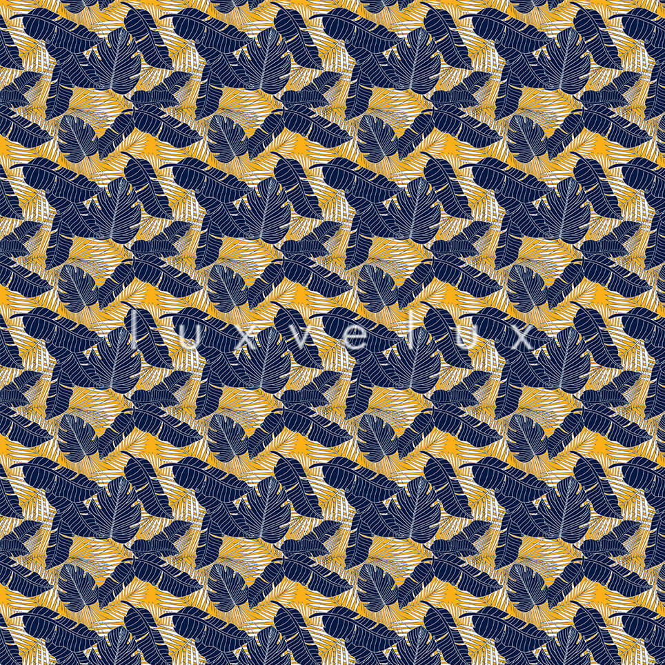 Tropical Leaves Blue Background Yellow Gloria