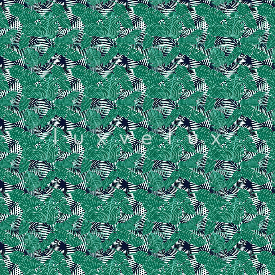 Tropical Leaves Green Background Navy Gloria