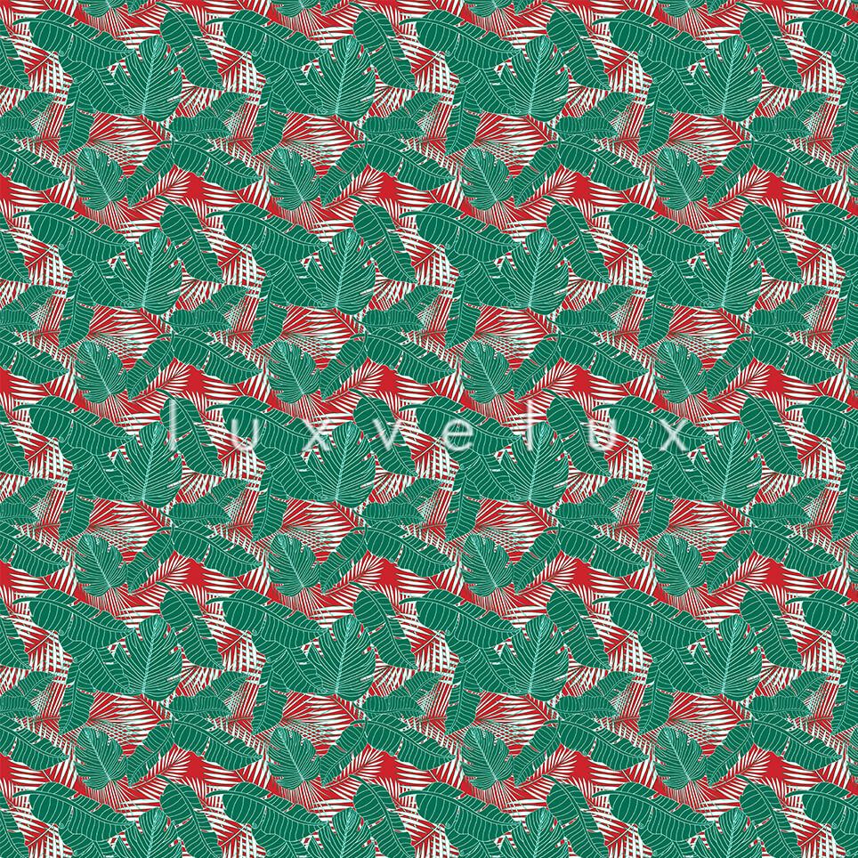 Tropical Leaves Green Background Red Gloria