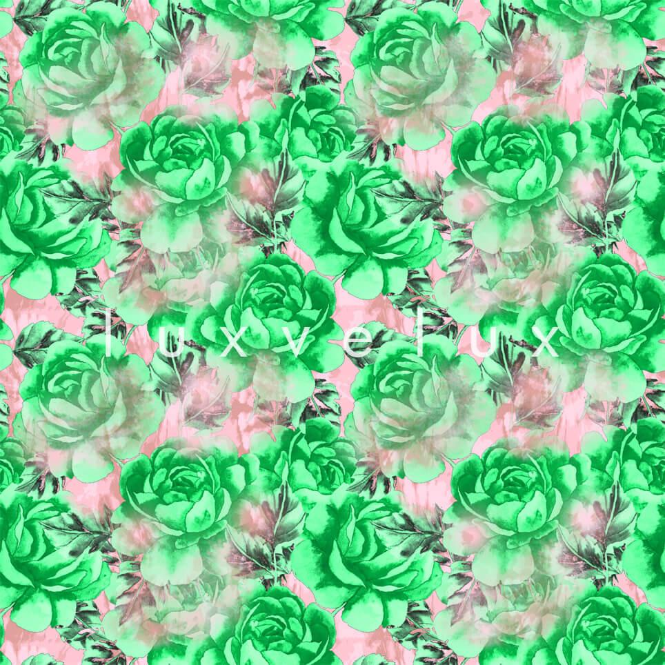 Big Roses Green Leaf Pink Madeline