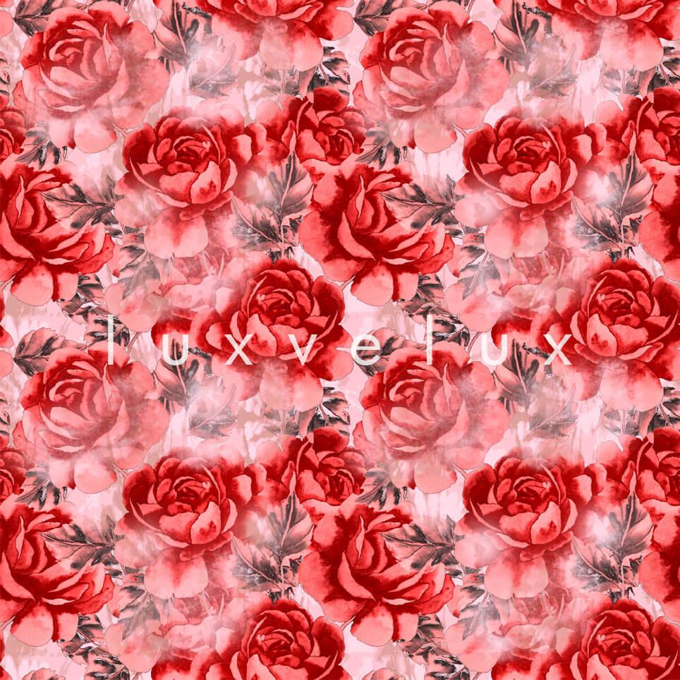 Big Roses Red Leaf White Madeline