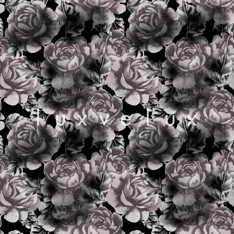 Big Roses White Leaf Black Madeline