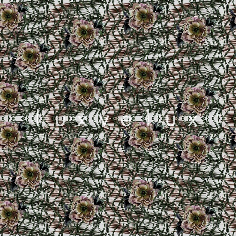 Chain Pattern Green Flowers Salmon Nicola