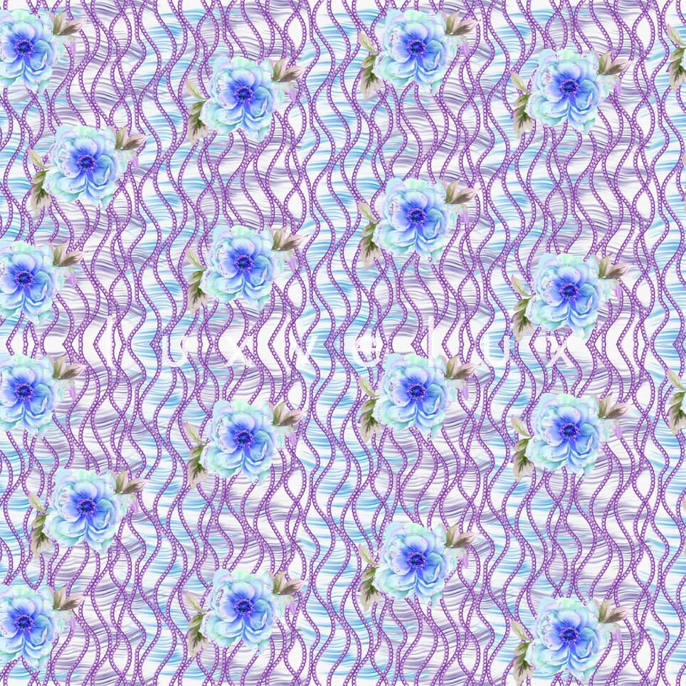 Chain Pattern Purple Flowers Blue Nicola