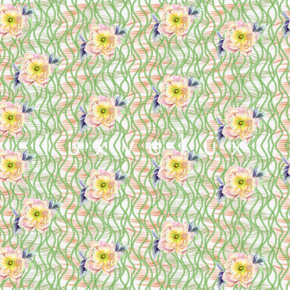 Chain Pattern Yellow Flowers Blue Nicola