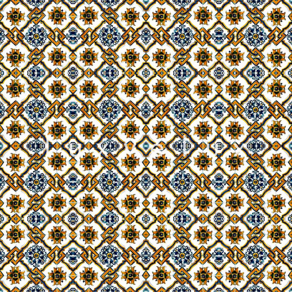 Chain Tile Pattern Gold Blue Rena