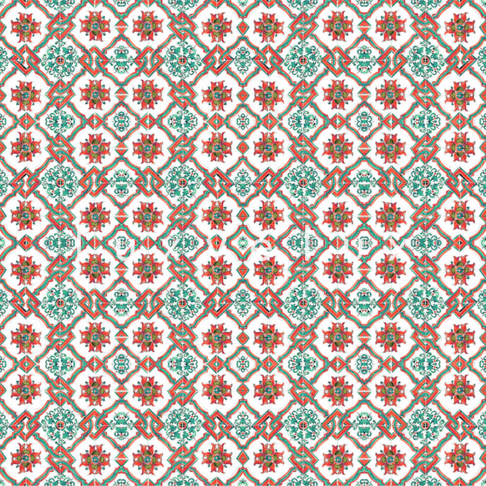 Chain Tile Pattern Mint Red Rena