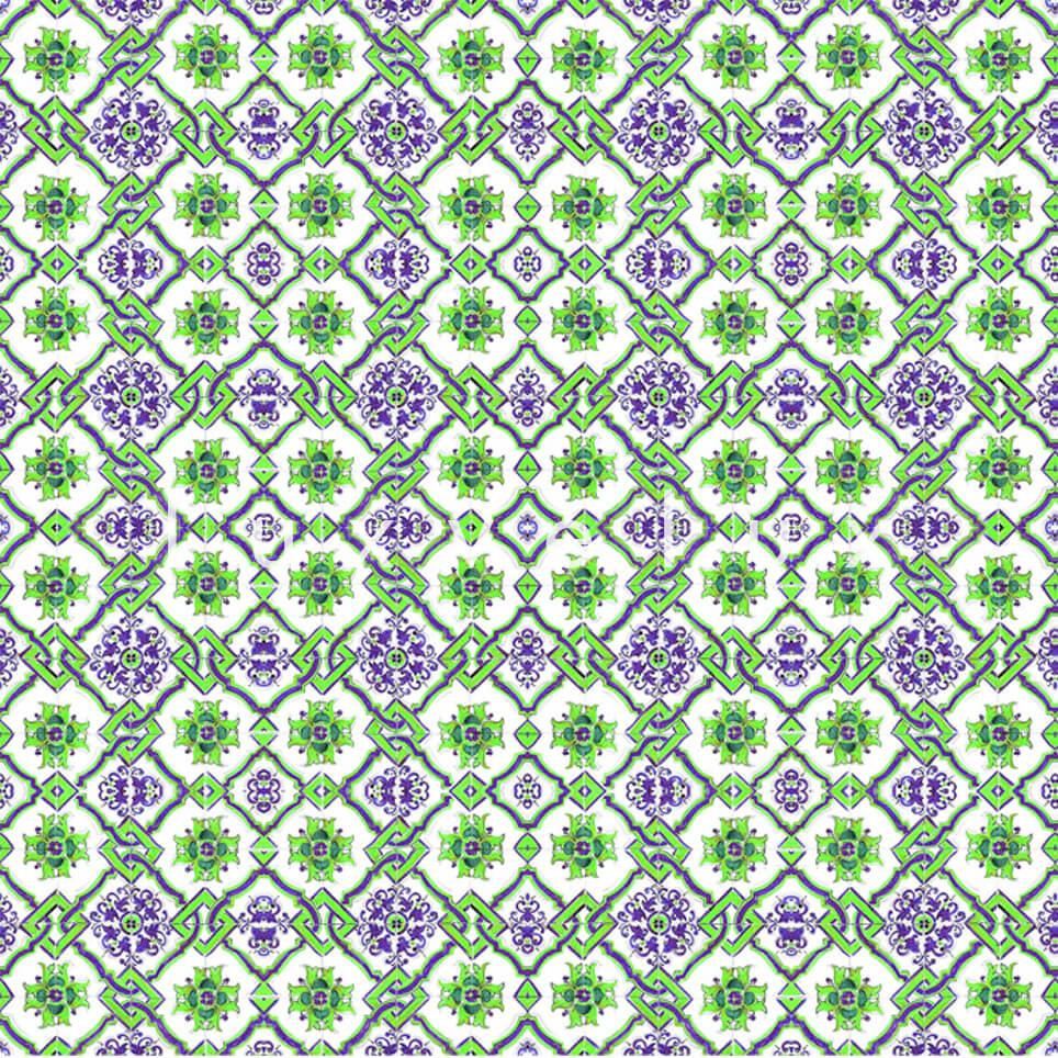 Chain Tile Pattern Purple Green Rena