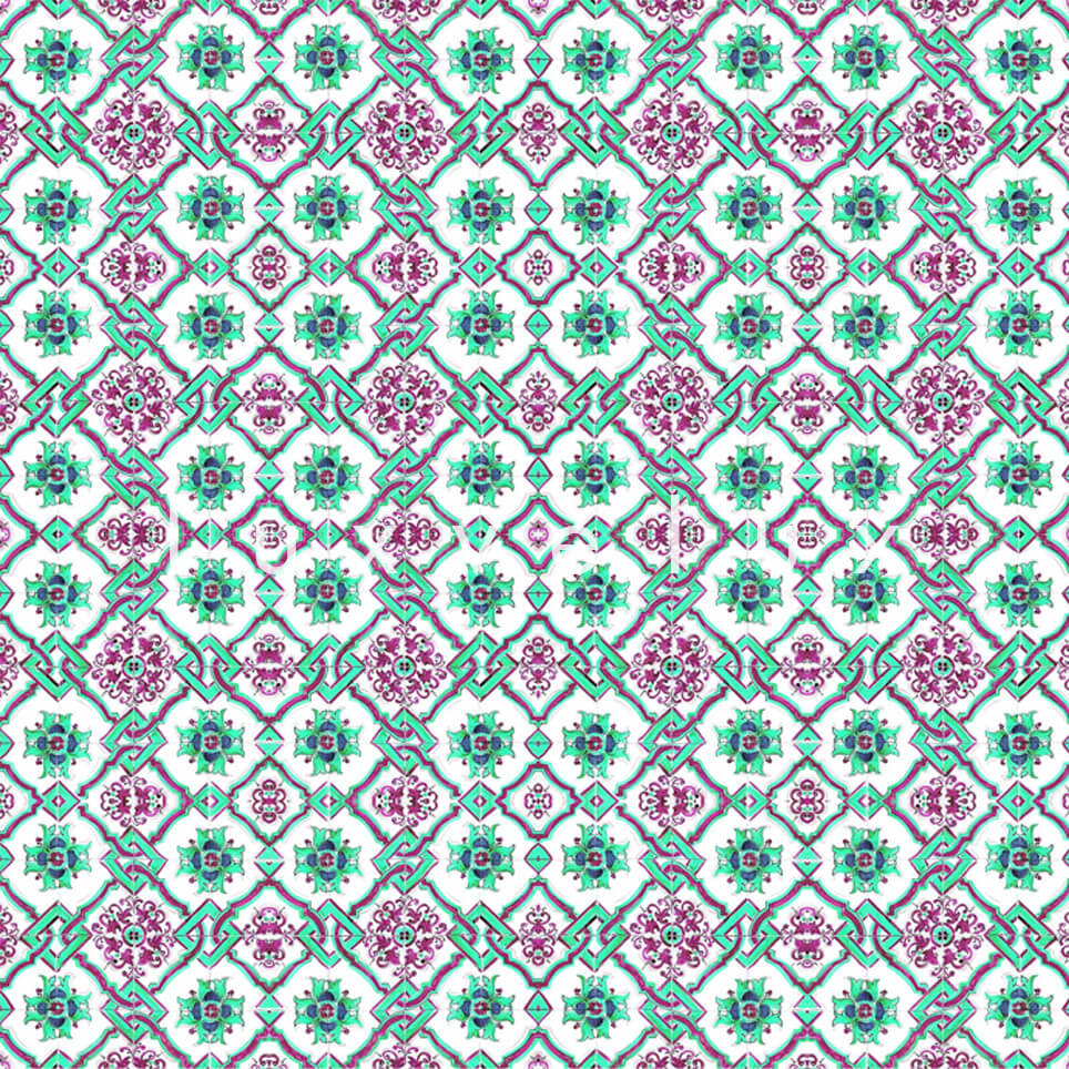 Chain Tile Pattern Turquoise Green Rena