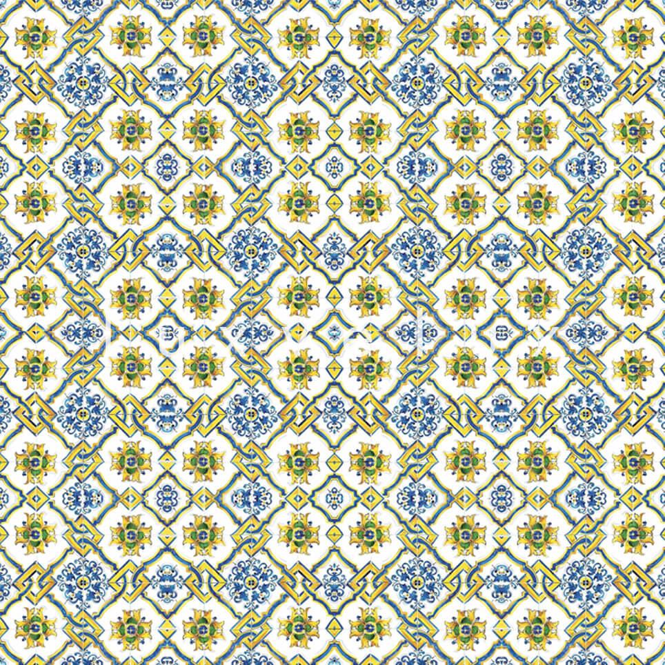 Chain Tile Pattern Yellow Blue Rena