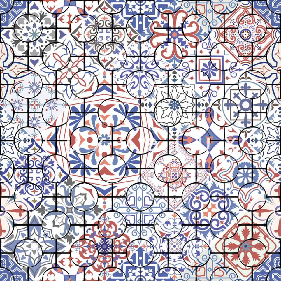 Ethnic Tile Blue Red Latonya