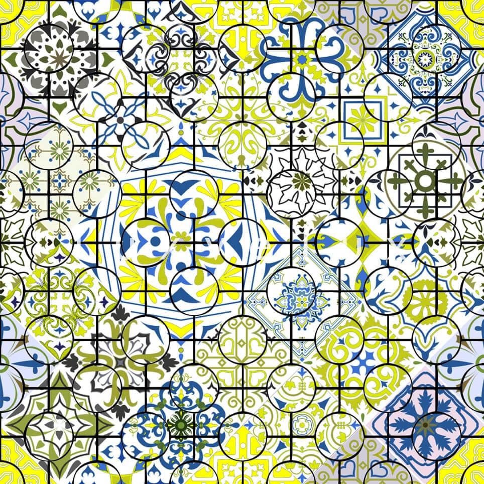 Ethnic Tile Blue Yellow Latonya